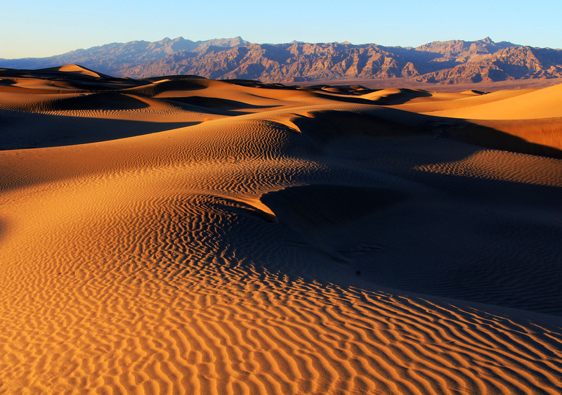 Gorgeous Sunset  at Mesquite Flats Sand Duns in Death Valley National Park